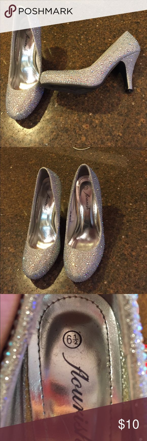 3 inch Silver Rhinestone Heels Worn twice. 3 inches, size 6 1/2 bottom is worn Shoes Heels