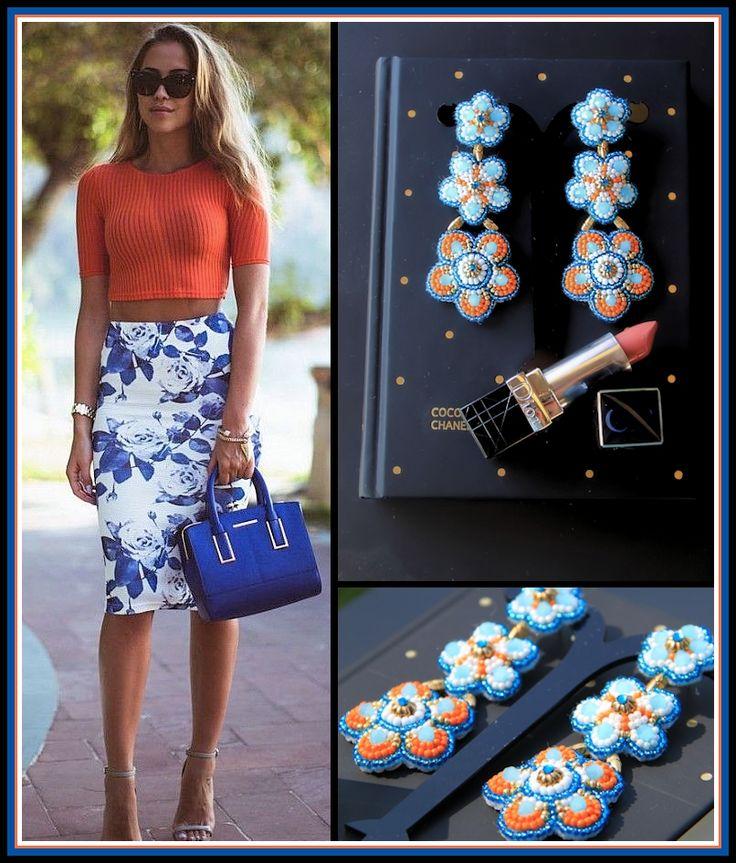 Summer bohemian beaded earrings blue orrange