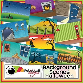 Background Scenes Halloween contains 10 colored and 10 black and white background scenes for your products. Simply place your text and clip art over the Halloween background scene. Create product covers, posters, dioramas, worksheets, activities and other teaching resources.