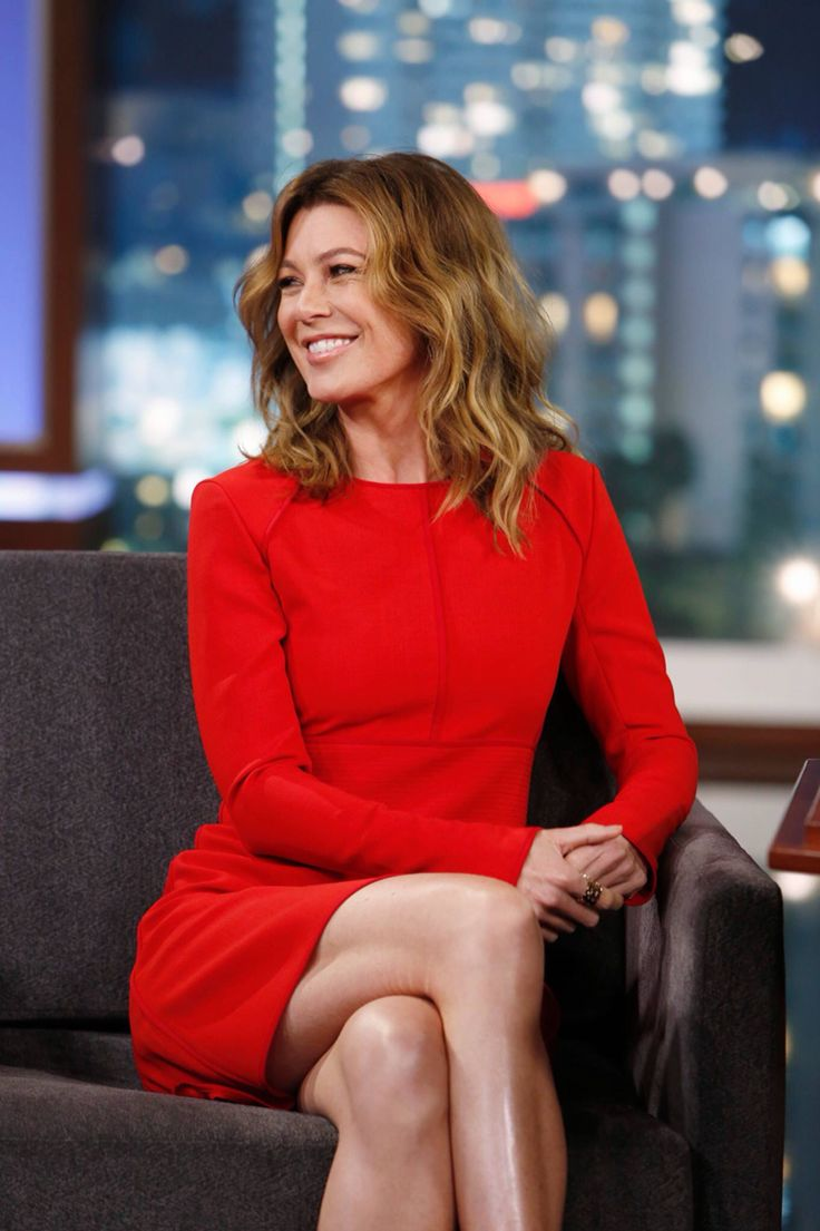 Love her hair! // Ellen Pompeo on Jimmy Kimmel