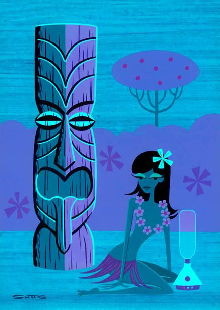 """The Blender"" wahine tiki Hawaiian art by Shag"