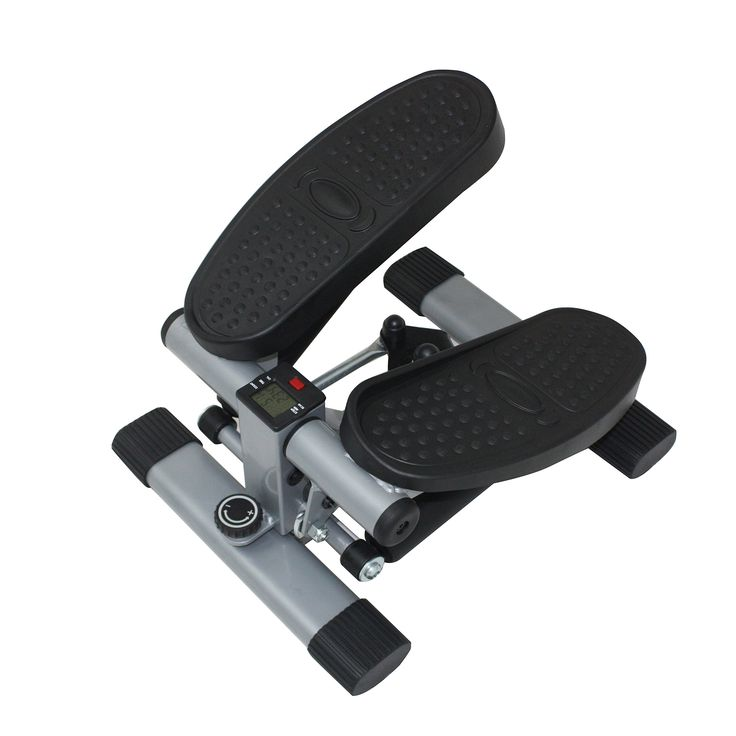 Sunny Health & Fitness Dual Action Swivel Stepper. The sturdy, solid steel frame ensures ultimate support and the non-slip grip foot pedals provide perfect motion control. The natural Swivel (twist) action of your body through bi-pedal motions will target your lower-back, hips, legs, glutes and oblique (abs). Customize your workout by having the option to either have a step motion (up and down) or a swivel axis motion. Built-in LCD displays your time, calories, steps and steps per minute....