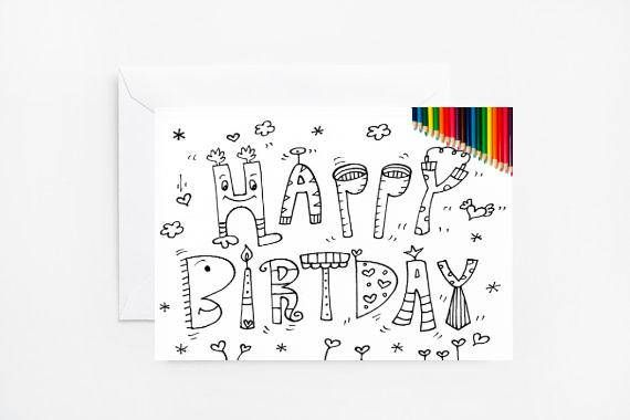 Coloring Card Happy Birthday Coloring Cards Adult Coloring