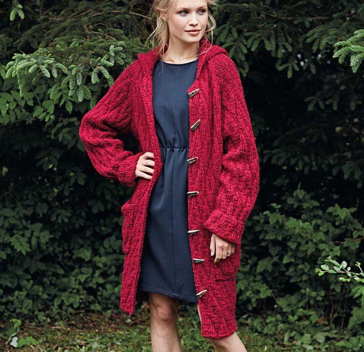 Пальто с капюшоном - схема вязания спицами. Вяжем Пальто на Verena.ru