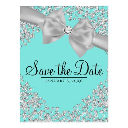 #savethedate #postcards - #Tiffany Blue Big White Bow Diamonds Save the Date Postcard