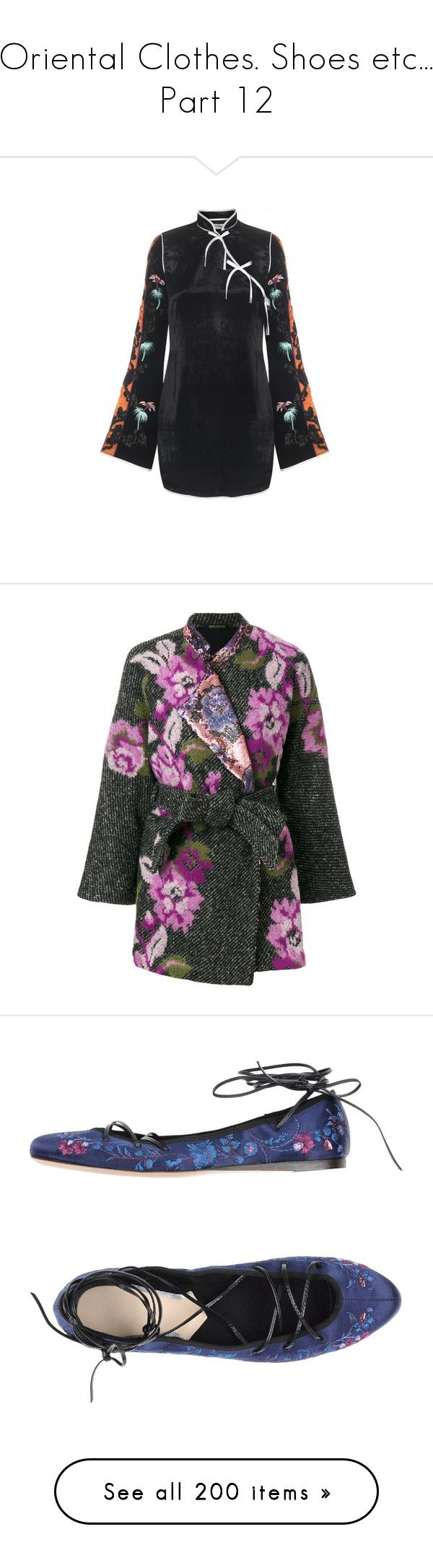 """""""Oriental Clothes. Shoes etc... Part 12"""" by leanne-mcclean ❤ liked on Polyvore featuring outerwear, coats, cape coats, grey cape coat, grey coat, gray coat, floral print coats, shoes, flats and dark blue"""