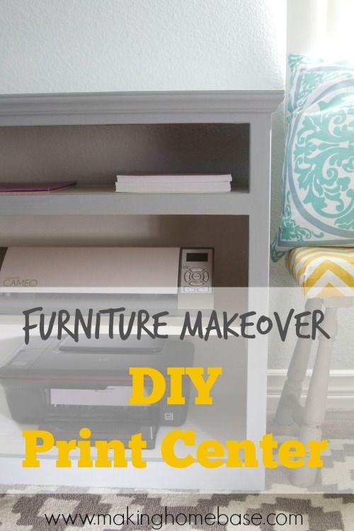 Furniture Makeover - Old Media Cabinet to Workspace Print Center via makinghomebase.com