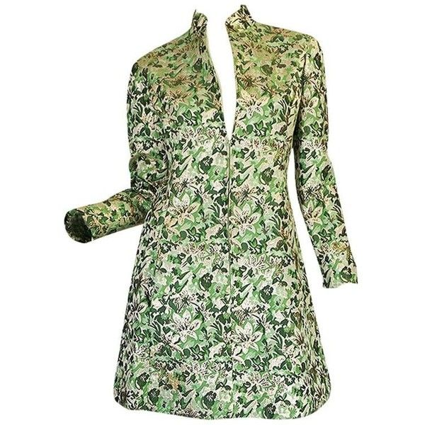 Preowned 1960s Ceil Chapman Green Metallic Silk Brocade Mini Dress ($850) ❤ liked on Polyvore featuring dresses, green, evening cocktail dresses, green cocktail dress, silk cocktail dress, long-sleeve floral dresses and fitted cocktail dresses