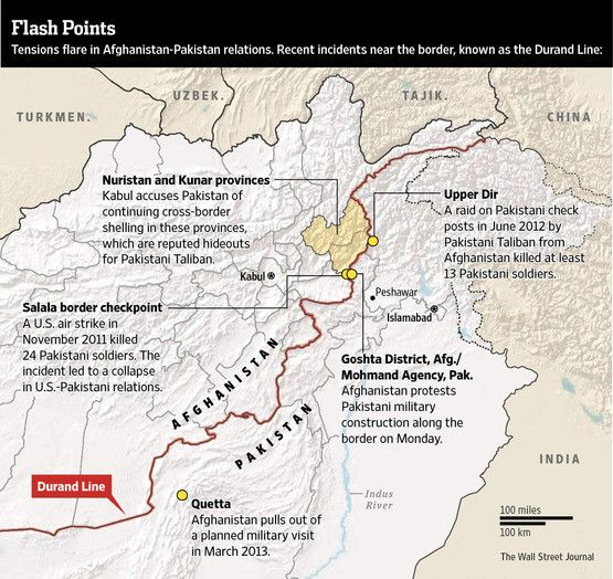 Afghanistan-Pakistan relations. Map of recent incidents near the border, at the Durand Line