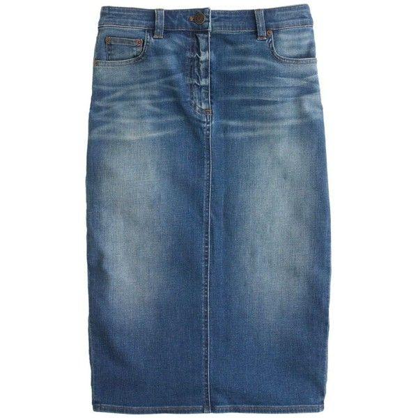 J.Crew Denim pencil skirt ($98) ❤ liked on Polyvore featuring skirts, bottoms, denim, denim skirt, jeans, blue skirt, long pencil skirt, stretch denim skirt, stretchy pencil skirt and long skirts