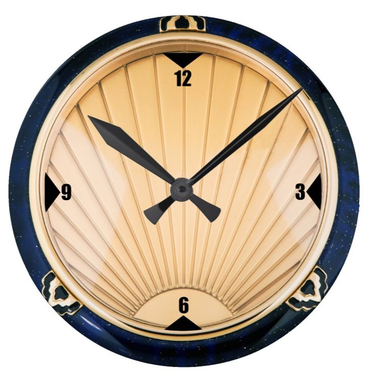 "Art Deco Style Wall Clock. One for the Art Deco enthusiast's wall. 8"" diameter. Material: Grade-A acrylic https://www.zazzle.com/art_deco_style_wall_clock-256806610628330684 #clock #ArtDeco #1930's #homedecor"