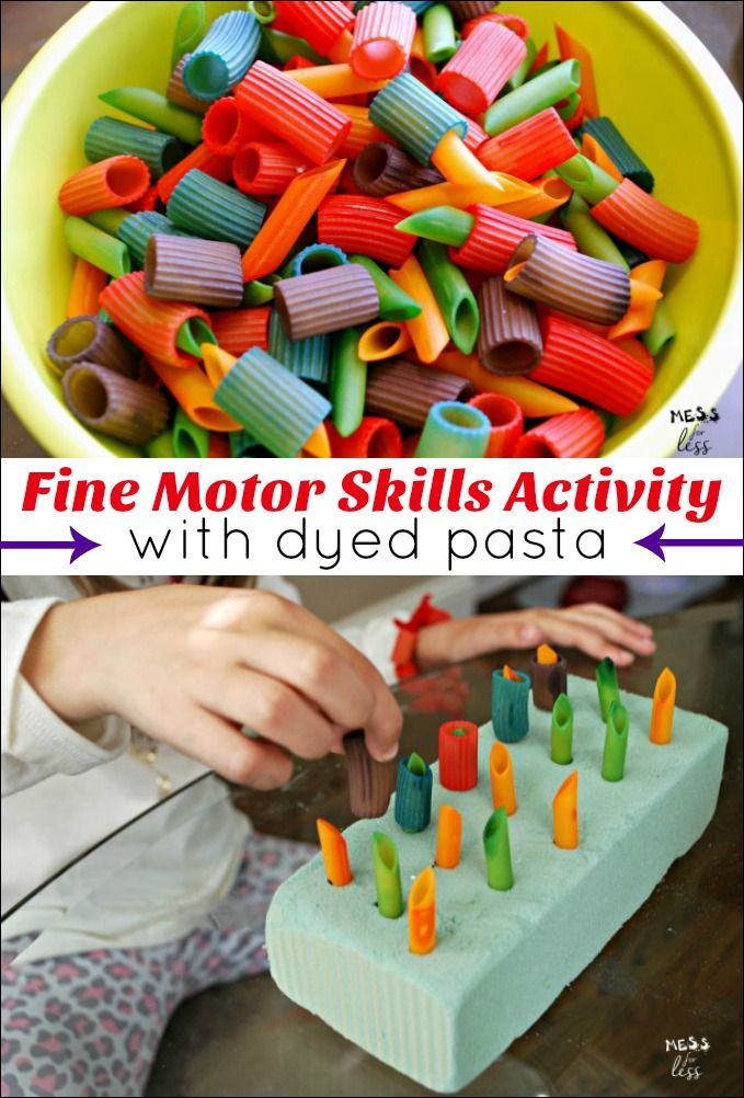 Fine motor skills for preschoolers are so important. Here is an idea for a fun game you can make using dyed pasta. Directions to make dyed pasta included.