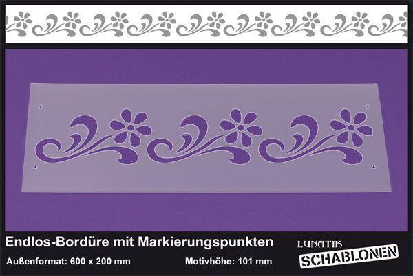 Schablone XL Bordüre Margerite Blume - LB14   von Lunatik-Style via dawanda.com