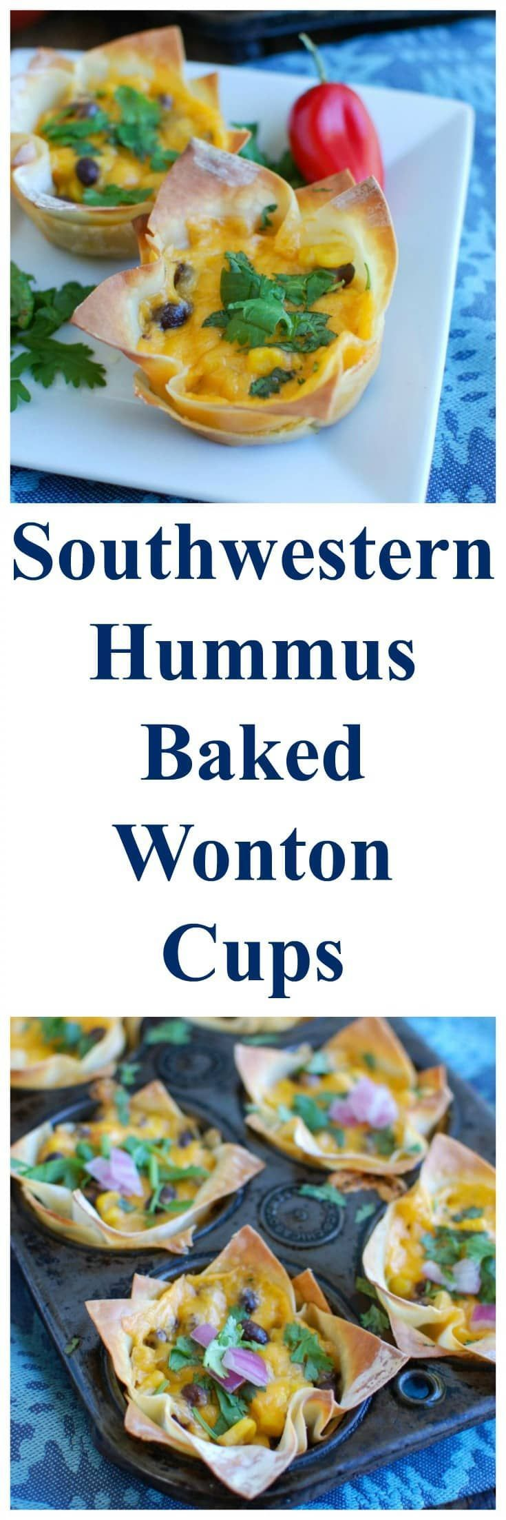 Southwestern Hummus Baked Wonton Cups are a fun finger food mixing spicy hummus, black beans, corn and cheese and baked into a wonton cup until crispy and warm. These are packed with flavor and work great as a snack or party food! // A Cedar Spoon