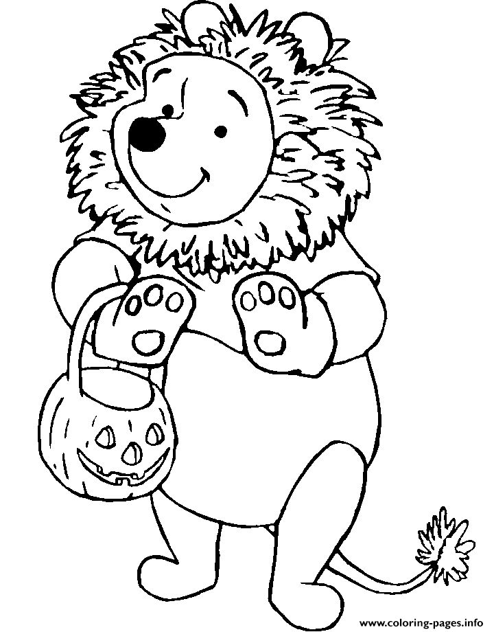 Print Winnie The Pooh As A Lion Disney Halloween Coloring Pages