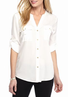 Calvin Klein Women's D-Ring Roll Sleeve Blouse - White - Xl