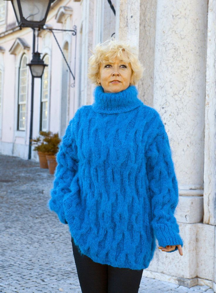 Blue Hand Mohair Sweater fuzzy #HandmadeMilevknitting #Sweaters