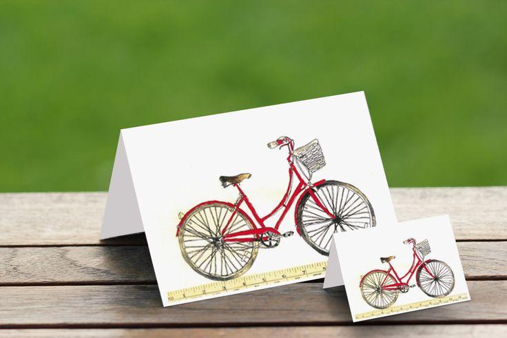 Bike Watercolour Print Card Set, Greeting and Gift Card Set,Red Bike Cards, Bicycle Cards, hand-painted Bike card, Australian by PaperJamink on Etsy