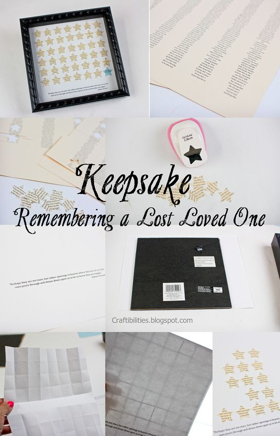 DIY - Shadowbox frame with kind words in tiny stars. Sweet keepsake to remember a lost love one. Gift idea