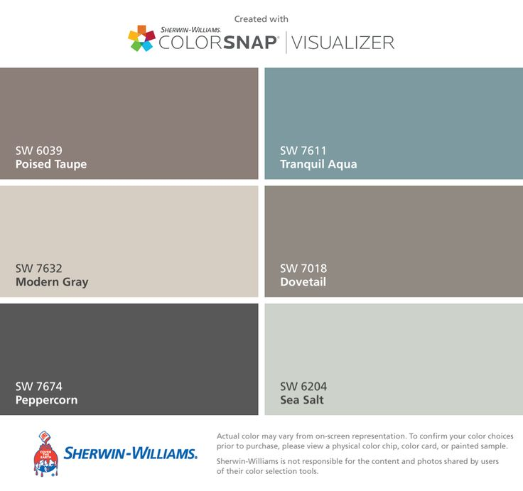 I found these colors with ColorSnap® Visualizer for iPhone by Sherwin-Williams: Poised Taupe (SW 6039), Modern Gray (SW 7632), Peppercorn (SW 7674), Tranquil Aqua (SW 7611), Dovetail (SW 7018), Sea Salt (SW 6204).