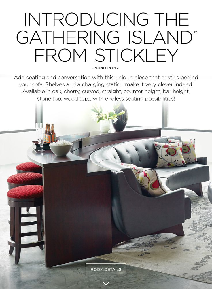 Stickley Furnitureu0027s Curved Gathering Island With High Line Sectional