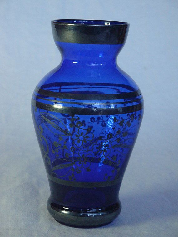 Antique Cobalt Blue Vase With Silver Overlay Beautiful Blue Glass