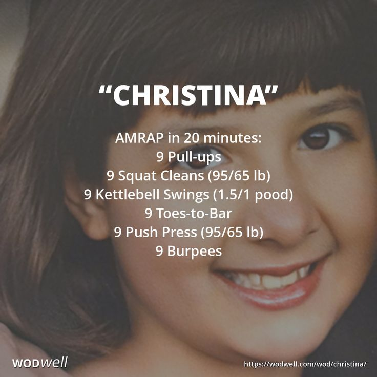 """""""Christina"""" WOD - AMRAP in 20 minutes: 9 Pull-ups; 9 Squat Cleans (95/65 lb); 9 Kettlebell Swings (1.5/1 pood); 9 Toes-to-Bar; 9 Push Press (95/65 lb); 9 Burpees"""