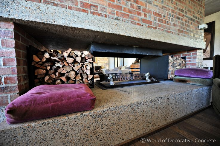 With winter slowly approaching it is time to stock up on fire wood! Spoil yourself with a unique fireplace in a beautiful Sandblasted Concrete finish from World of Decorative Concrete. #wodc #stuccoitaliano #buildings #classical #stylist #style #interiordesign #concrete #modern #homestyling #designer #sandblasted #view #designed #architect #photographer #modernarchitecture #designs #creativeconcrete #polishedconcrete #decor #quote #design #architecture #decorating