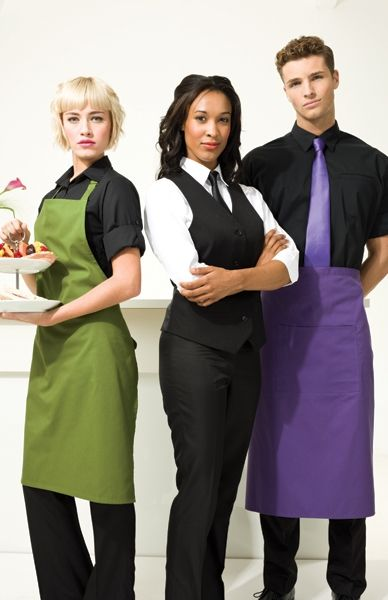 Service with a smile! Premier has long bar aprons, and full length bib aprons with matching neckline accessories.