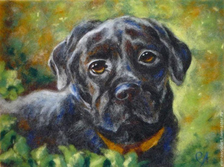 Купить Картина из шерсти. На память - темно-серый, собака, лабрадор, картина из шерсти