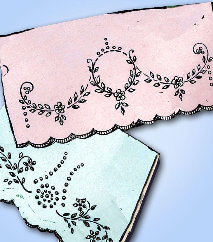 1920s Betty Burton Redwork Pillowcases Uncut Hot Iron Embroidery Transfer 1542