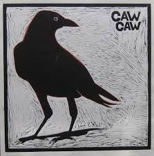 woodcut of a crow