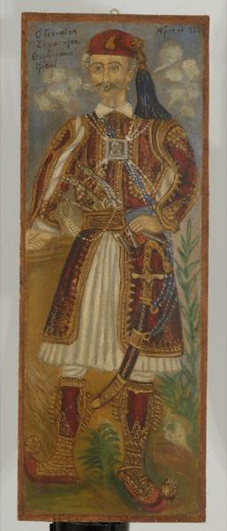 """Θεόφιλος """"Θεοδωράκης Γρίβας"""", Ελαιογραφία σε ξύλο, μετά το 1929. Δ. 62Χ23εκ Αθήνα, Μουσείο Ελληνικής Λαϊκής Τέχνης, Α.Μ. 2808 Η μορφή του οπλαρχηγού καταλαμβάνει σχεδόν όλη την εικονιστική επιφάνεια, στοιχείο ενδεικτικό του θαυμασμού που έτρεφε ο Θεόφιλος για τους ήρωες του ΄21."""