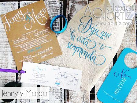 Invitaciones de boda en bilsa de yute, con toque moderno/ invitaciones de boda / wedding invitations