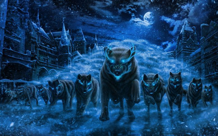 Download Wallpapers Wolves Night Art Winter Flock Of Wolves Art Download Flock Night Wallpapers Winter Fantasy Wolf Iphone Wallpaper Wolf Snow Wolf