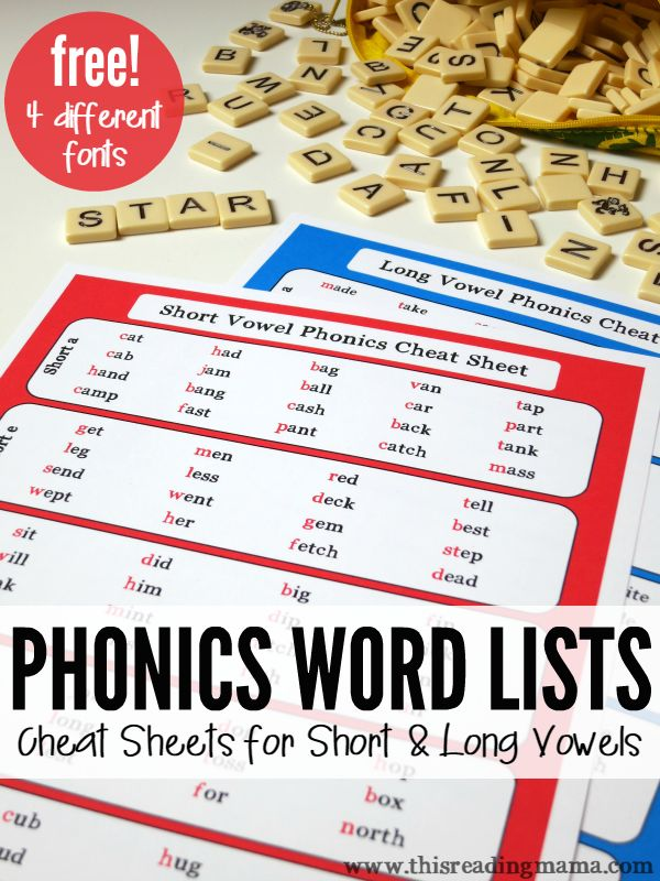 FREE Phonics Cheat Sheets- These phonics word lists include short and long vowel cheat sheets that can help kids spell and read thousands of words! Great for struggling readers, too! | This Reading Mama