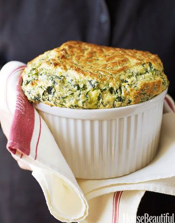Ina Garten's Spinach Souffle http://www.foodnetwork.com/recipes/ina-garten/spinach-and-cheddar-souffle-recipe/index.html