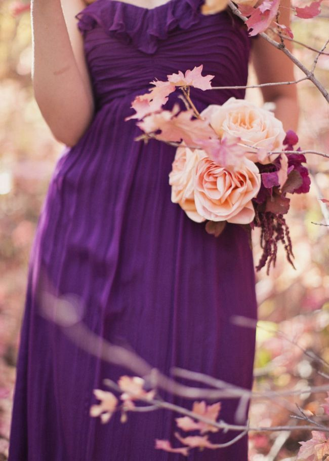 291 best images about peach wedding peach and cream on for Cream and purple wedding dresses