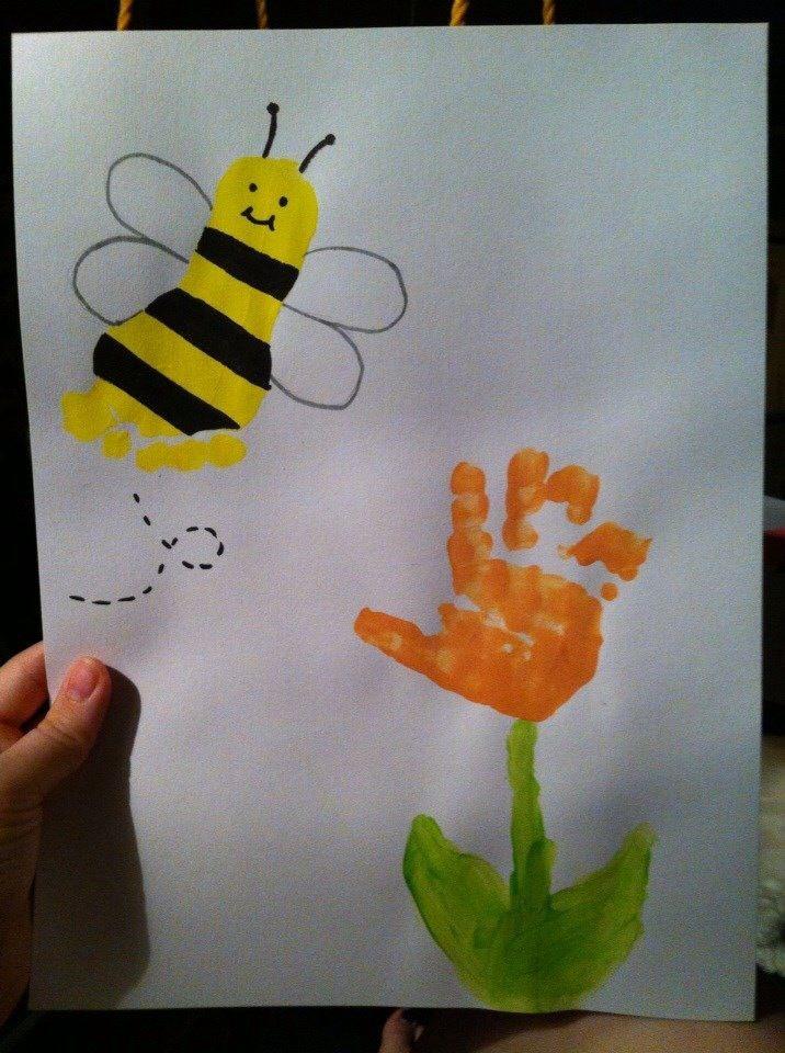 image result for handprint bee craft kid crafts pinterest insectes activit et bricolage. Black Bedroom Furniture Sets. Home Design Ideas