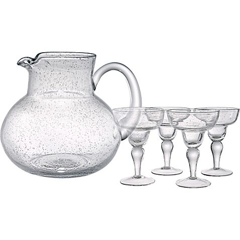 Fresh and elegant, the Artland Iris Glass and Pitcher Set boasts a beautiful transitional style with a unique bubble design that complements both casual and formal settings. These handcrafted pieces are perfect for serving your delicious margaritas.