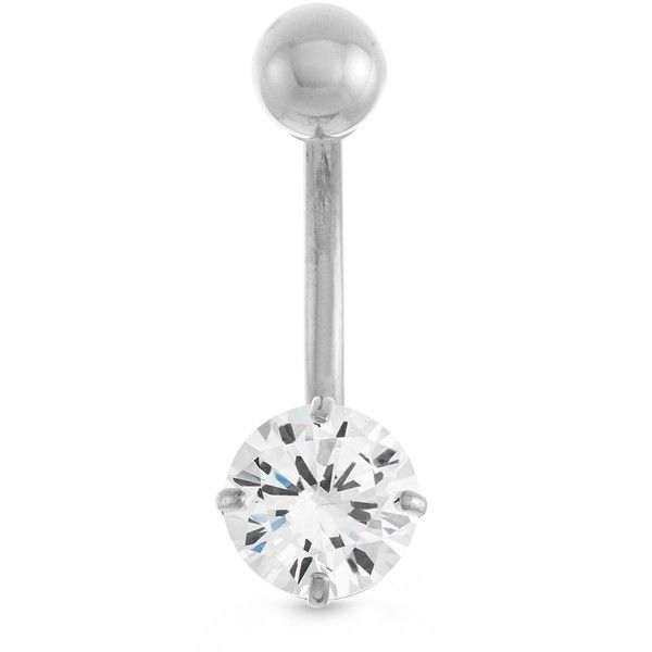 Gioelli 10k White Gold Round-cut Cubic Zirconia Belly Ring ($40) ❤ liked on Polyvore featuring jewelry, rings, white, cz rings, navel rings, white ring, cubic zirconia rings and long rings