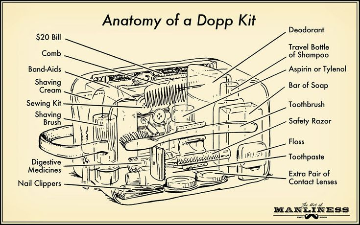 Anatomy of a Dopp Kit via The Art of Manliness. Illustration by Ted Slampyak. Step 1: Visit Haberdash EDC at 611 N. State in Chicago.