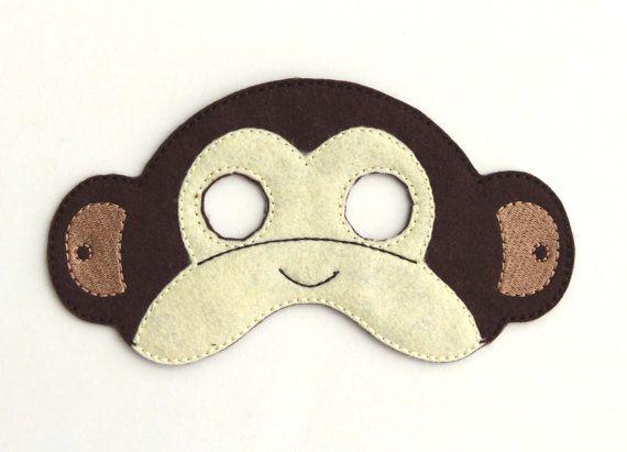 Kids Monkey Mask Monkey Costume Felt Mask Kids от BabyWhatKnots