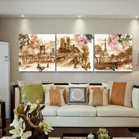 Europe Retro Building Street Canvas Prints Living Room Wall Picture With  Stretched Frame