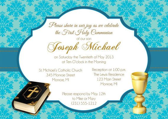 First Communion Invitation For Boys Communion by FabPartyPrints