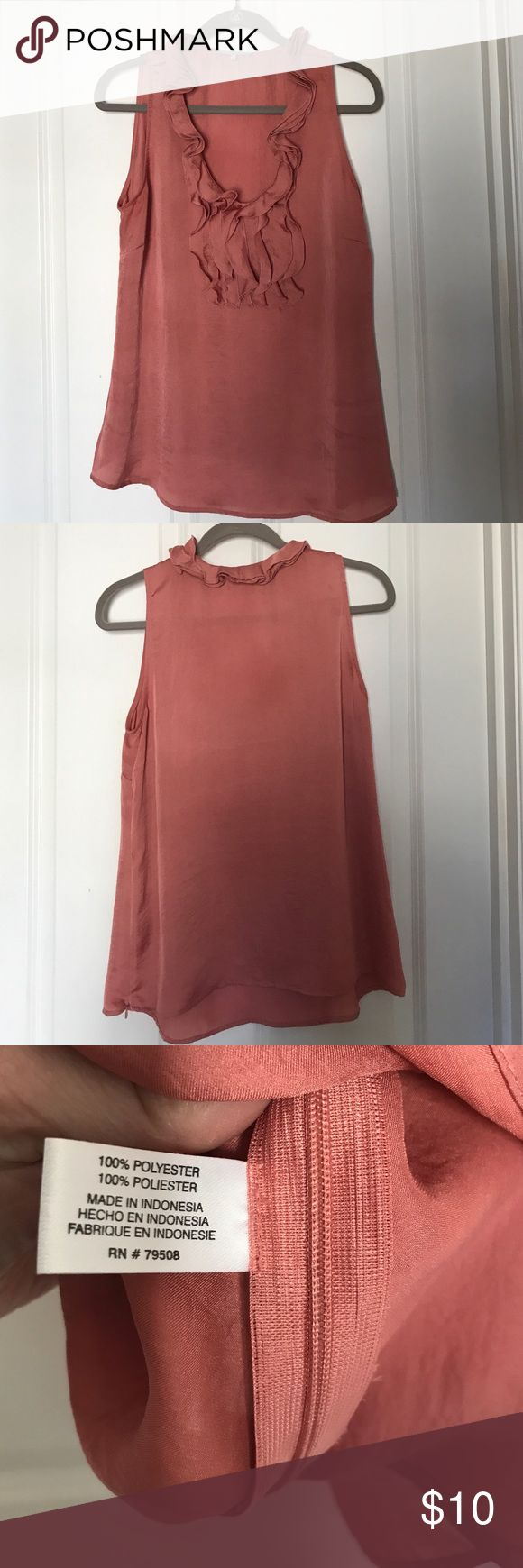 """Pretty clay pink sleeveless ruffled top size L This is a cute top by Violet&Claire in a polyester material that looks like washed silk. Color is a lovely clay pink. Looks great with white jeans and flat sandals! Side zipper. Very feminine. Size large fits a 37"""" bust comfotably. Violet & Claire Tops"""