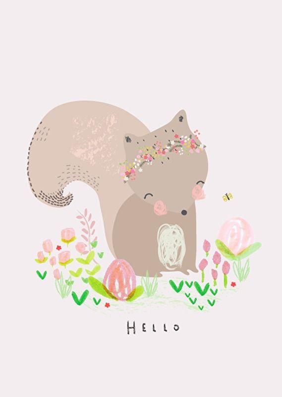#Kaart #AlessBaylis #postcard #ansichtkaart #snailmail #postcrossing #print #hipgemaakt #echtepost #illustratie #squirrel #eekhoorn