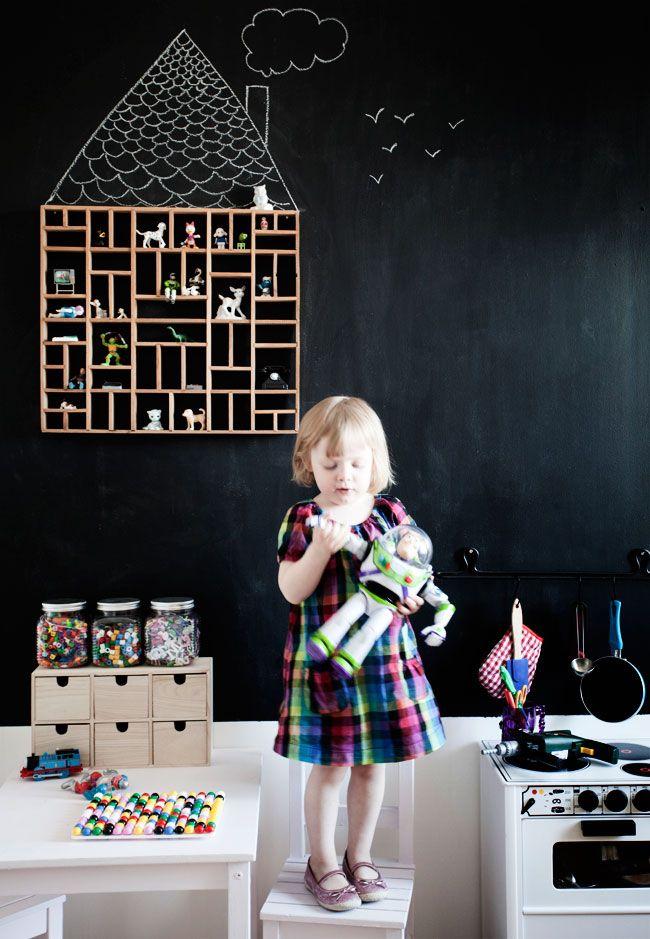 cute little house shelf on a chalkboard wall.