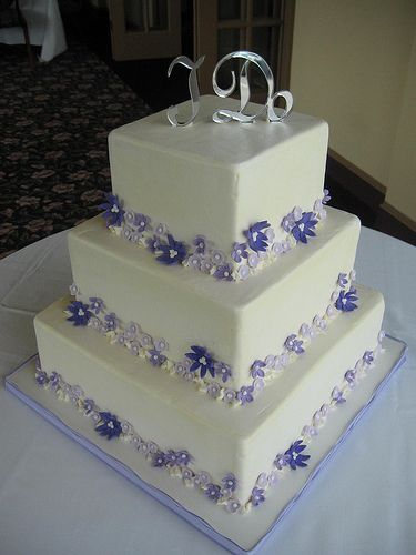 Purple Flowers Wedding Cake by pastrybitch <3