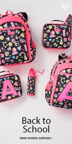 """Go ahead—get emoji-nal! Our emoji backpacks, lunch totes, water bottles and accessories put the """"fun"""" in functional. It's the cool way to mix style with smiles. For an added personal touch, select from can't-miss A to Z initial bags—find all the letters online. Shop today and stock up on the school supplies she needs to make her mark (and keep them smile-high) this year!"""